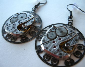 upcycled STEAMPUNK watch movement earrings OOAK recycled silver gears