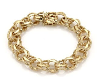 16946 - Vintage 14k Yellow Gold 12mm Textured Double Round Chain Link Bracelet