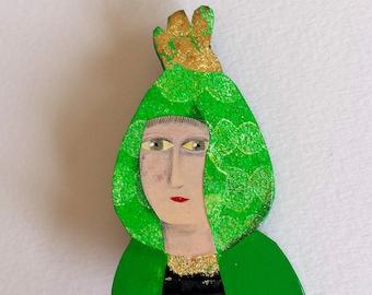 "Brooch ""Green Lady"""