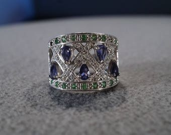 Vintage Sterling Silver Cigar Band Ring 67 Round Pear Diamond Tanzanite Emerald Detailed Setting Art Deco Style, Size 7