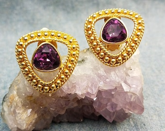 Regal Swarovski Purple Amethyst Crystal Clip Earrings in Rich Gold Tone