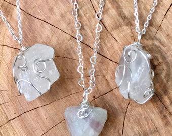 Quartz Necklace, Quartz Pendant, Fluorite Necklace, Fluorite Pendant, Natural Stone Necklace, Wire-Wrapped Quartz, Wire-Wrapped Fluorite
