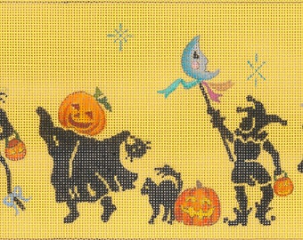 Needlepoint HandPainted Dede HALLOWEEN Parade 17x5 -Free US Shipping!!!