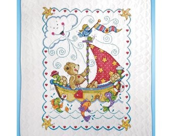 Cross Stitch Kit STAMPED Baby Quilt TOBIN Sail Away w/Threads 34x43 -Free US Shipping!!!