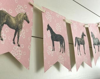 Horse Bunting with Pink Background