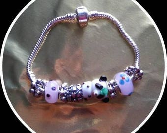 925 silver bracelet and silver charms and beads charms Ref: BR 220