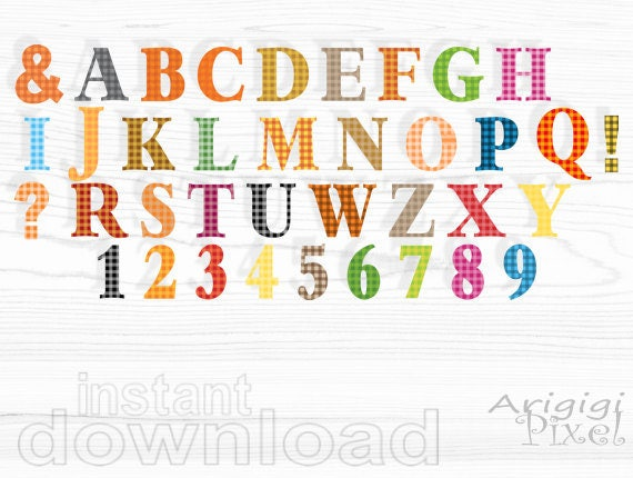 alphabet clip art set , gingham alpha clipart, warm fall colors, letters and numbers, commercial use digital elements download