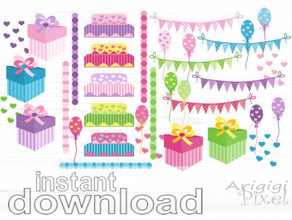 birthday clipart set - gift box - balloons - birthday cake - garland - commercial use - instant download clip art