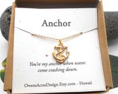 Anchor Necklace, Minimalist Necklace, Dainty, Tiny Necklace, Wish Necklace, Anchor Necklace, Gold Anchor, Navy, Ships Anchor