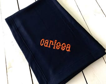 Embroidered Name Knit Fleece Stadium Blanket Large and Soft College Bedroom Wedding Gift Home
