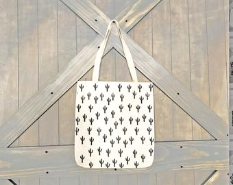 LINEN CANVAS TOTE- white cactus bag, Farmer's market, reusable bag, grocery tote, library bag, travel bag, ready to ship, Mother's Day Gift