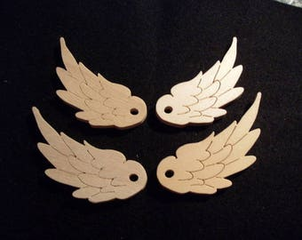 4 angel wings, wood, 7,5 x2, 8 cm (24-0012A)