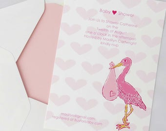 Stork Baby Girl Shower Invitation