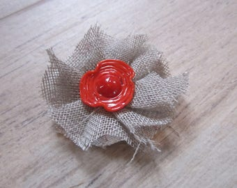 Spindle spun torch, backing fabric, red Murano glass bead