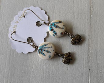 Lampwork glass Lampwork, beige beads earrings