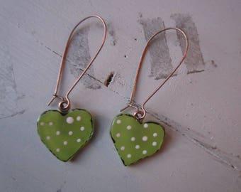 Glass fusing green heart earrings, large hook finish copper
