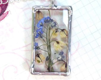 Lily of the valley and forget-me-not. Dried flower jewelry. Real flower necklace. Pendant Terrarium. Tiffany method. Bohemian jewelry. Gift