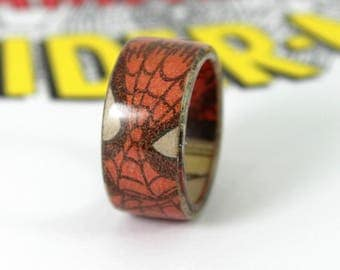 Superhero Ring Made With Comic Books Spiderman Ring Comic Book Gift Superhero Jewelry Geek Gift Geeky Men's Ring Spiderman Black Panther
