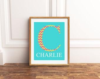 Monogram wall art, name art, girls letter wall decor, childrens room decor, chevron room accent, gift for little girl