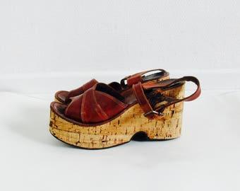 Rare 1970s boho hippie platform wedges cognac leather shoes. // size 7,5 - 8