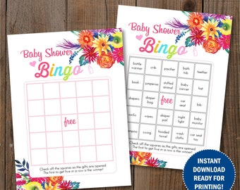 Fiesta Baby Shower Bingo Games. 30 different prefilled pages. Digital Printable cards