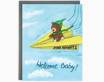 Welcome Baby - Stork Airways - Cute New Baby Card