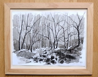 Original watercolor landscape painting Winter sepia trees forest decor trees landscape framed wood frame with glass landscape decor