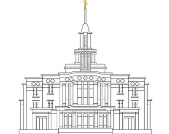 Payson Utah Temple Counted Cross Stitch Pattern