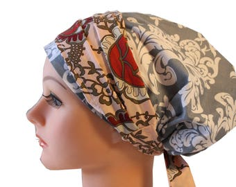 Scrub Hat Cap Chemo Bad Hair Day Hat  European BOHO Banded Pixie Tie Back Gray Damask with Dusty Rose Floral Band 2nd Item Ships FREE