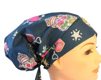Scrub Hat Cap Chemo Bad Hair Day Hat  European BOHO Pixie Glitter Skulls 2nd Item Ships FREE