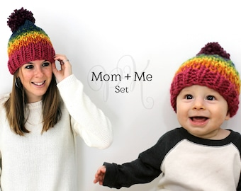 Mom and Me Knit Set, Mother Daughter Hats, Pom Hats, Knitted Hat Set Gift