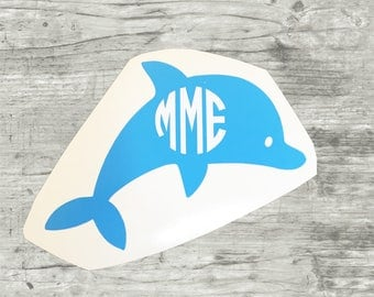 Dolphin Monogram, Dolphin Vinyl Monogram, Dolphin Sticker, Monogram Decal, Monogram Sticker, Beach Decal, Preppy Stickers with Initials