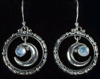 Rainbow Moonstone Moon Earrings: SELENE