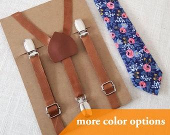 PRE-ORDER (3 WEEKS) Newborn Necktie and Suspenders, Toddler Necktie and Suspenders, Brown Leather Suspenders, Navy Floral Necktie