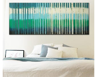 Original Abstract Painting - Ready to hang - Acrylic paint - Textured landscape painting - Bright colors white blue - Light - Ronald Hunter