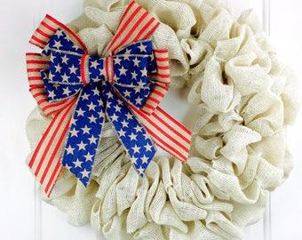American Flag Wreath Fourth Of July Wreath Patriotic Burlap Wreath Summer July 4th Burlap Wreath Americana Wreath Military Wreath Rustic