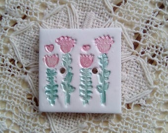 Painted polymer clay square button, small button, handmade button, flower button, single button, sewing, knitting, scrapbooking, card making