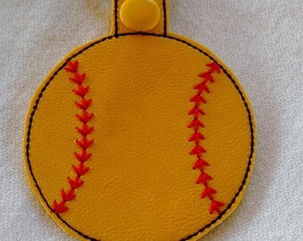 Softball Key Fob... Key Chain... Key Ring... Zipper Pull