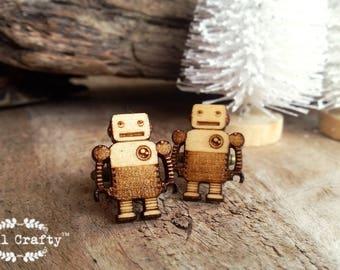 Tin Robot Wooden Cufflinks Retro Toys Children toys Dad Grooms Best man Groomsman Rustic Wedding Birthday Gift Cuff links