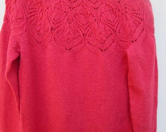 Hand knit pullover, coral pink, knit sweater, women knit wear pullover, M size, merino silk yarn, ready to ship.