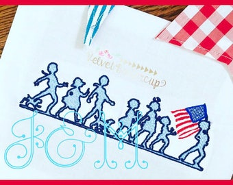 5x7 Patriotic Children's Parade Motif Fill Embroidery Design