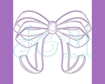 Bow Vintage Style Stitch Embroidery Design
