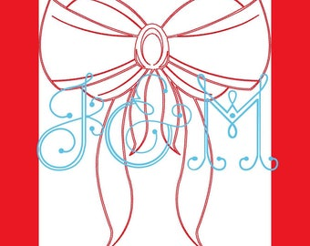 Red Bow Vintage Style Stitch Machine Embroidery Design