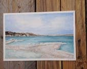 Original Watercolor DEAD SEA 5 1/2 x 8 1/2 artwork blue azure marine seascape decor