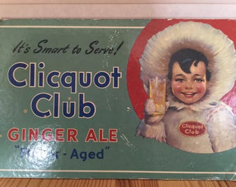 Rare Vintage Cliquot Ginger Ale Soda Counter Display Sign with Eskimo, Cardboard