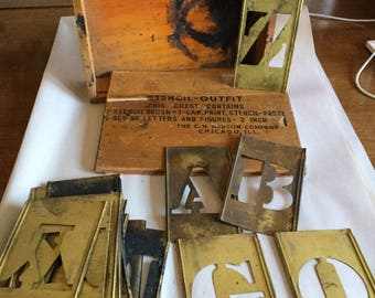 Antique Architectural Salvage Stencil Set from 1920's, Capitol Letters