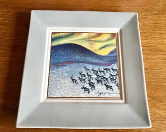 Vintage Mid Century Finland Art Pottery Wall Tile, Aurora Borealis, Northern Lights