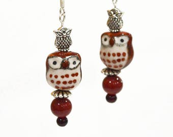 OWL Earrings - Owls Lovers Gifts, Autumn Fall Colors Owl Jewelry Hoo Hoo Animals