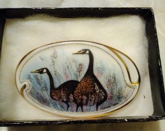 1992 P Buckley Moss Society Winter Geese brooch.  MIB.