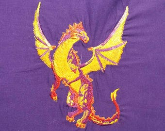 Embroidered Dragon Quilt Square Block